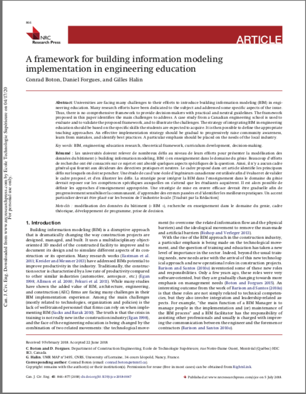 A framework for BIM implementation in engineering education